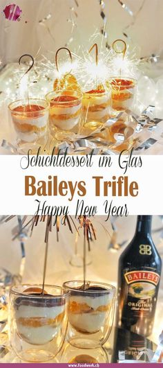 Das Schicht Dessert… The Baileys Trifle is one of our favorite sweets. The layer dessert is just perfect if you are invited and you want to bring a dessert. Tiramisu Trifle, Baileys Trifle, Baileys Tiramisu, Baileys Dessert, New Year's Desserts, Tolle Desserts, Layered Desserts, New Year's Food, Eat Dessert First