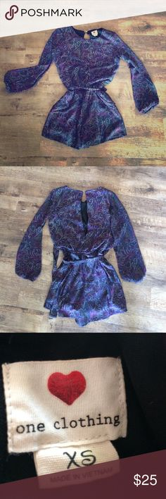 Slit back romper☂ Perfect condition deep purple paisley romper!! Super cute slit open back! Clasp at top ties at waist! No flaws one clothing Other