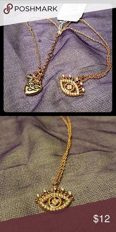 """Betsey Johnson Rhinestone Eye New With Tags This delicate copper rhinestones eye is perfect to ward off evil with style! Super on trend, perfect to layer with other peices. Chain is a little over 9"""" in length at its longest and can be adjusted. Betsey Johnson Jewelry Necklaces"""