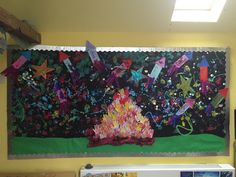 An Early Years 'Bonfire Night/fireworks' display from Kate's class. An Early Years 'Bonfire Night/fireworks' display from Kate's class. Happy Birthday Fireworks, Happy New Year Fireworks, Firework Painting, How To Draw Fireworks, Fireworks Craft For Kids, Diwali Fireworks, Fireworks Art