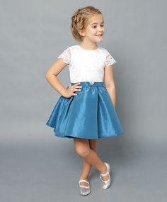 Vestido infantil Jolies Enfants Feminino Azul e Branco