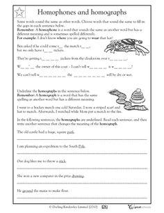 Homophones and homographs - worksheet. (5/6)