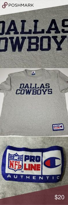 "CHAMPION NFL AUTHENTIC DALLAS COWBOYS SHIRT Large heather gray CHAMPION PRO LINE DALLAS COWBOYS SHIRT. Heather gray shirt with blue DALLAS COWBOYS lettering. Solid colors 100% compacted cotton heather gray 88% compacted cotton/ 12% rayon. Authentic Athletic     Apparel NFL PRO LINE AUTHENTIC  armpit to armpit 23"" shoulder to hem 24"" CHAMPION Shirts Tees - Short Sleeve"