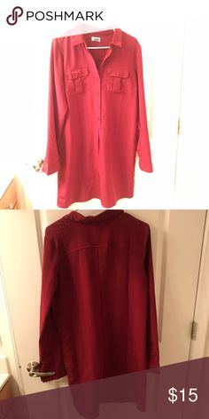 Old Navy Shirt Dress - size M Maroon shirt dress from Old Navy in size medium. It's a loose cut without a cinch, but could easily be belted for a fitted look. First photo is an accurate representation of the color and length of the dress, but the one for sale has two pockets on the front, as seen in the second photo. It's a medium, but from Old Navy, so runs larger, would fit a 6/8/10. Old Navy Dresses Long Sleeve