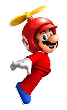 Propeller Mario is a power-up in New Super Mario Bros. Mario gets this form after using a Propeller Mushroom. Super Mario Party, Super Mario Kostüm, Mario Und Luigi, Mario Bros., Mario Kart, Wii Characters, Party Fiesta, Pokemon, Super Mario Brothers