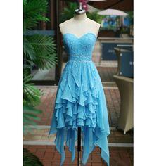 Sky Blue Short Prom Dresses Chiffon Ruffles Skirt pst0172