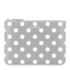 Comme Des Garçons Wallet polka dot zip wallet (36.310 HUF) via Polyvore featuring bags, wallets, grey, print wallets, polka dot wallets, comme des garcons wallet, zipper wallet and pattern bag