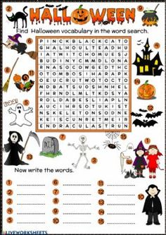 Halloween word search Language: English Grade/level: elementary School subject: English as a Second Language (ESL) Main content: Halloween Other contents: Halloween Vocabulary, Halloween Puzzles, Halloween Worksheets, Halloween Words, Halloween Activities For Kids, Halloween Fun, Halloween Costumes, Halloween Word Search Printables, Esl
