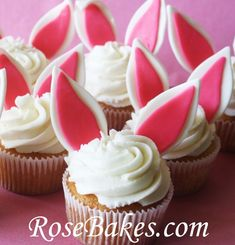 Easter Bunny Cupcakes on Pink ... would easily translate to a Beatrix Potter theme ... especially if they were carrot cake (o: