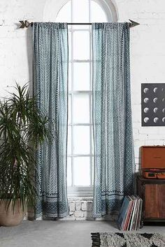 Living Room - Magical Thinking Scallop Scale Curtain - Urban Outfitters
