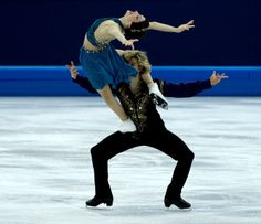 Description of . USA's Meryl Davis and Charlie White during the Team Free Ice Dance at the Iceberg Skating Palace in Sochi, Russia, on Sunda...