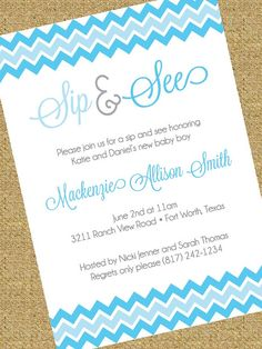 Cute wording for a 'sip and see' | party invitation ...