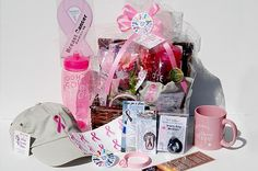 Cancer Gift Basket - Breast Cancer (Pink)  they have gift baskets for all the different types of cancer.