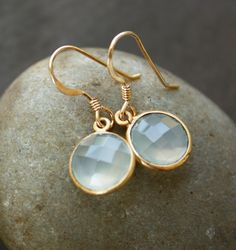 Sea Green Chalcedony Earrings - Simple Drops - The Glowing Sea. $42.00, via Etsy.