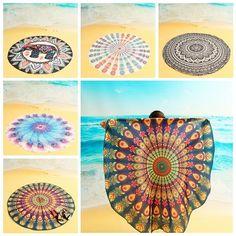 150cm/ 59'' Bohemian Style Beach Yoga Towel Tapestry Tablecloth Silk Scarf Mandala Round Bed Sheet