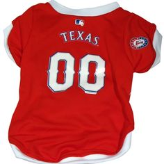 Texas Rangers Dog Jersey - Baseball team colors and logo. Constructed of breathable micromesh polyester, v-neck cut is stylish and comfort fitting.