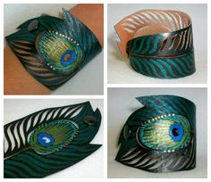 Colorful Peacock Feather Cuff Bracelet, Black Faux Leather, Hand Painted, Gifts for Her Leather Cuffs, Leather Jewelry, Leather Tooling, Teal Paint, Handmade Paint, Vegan Gifts, Black Faux Leather, Boho Earrings, Jewelry Crafts