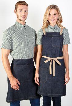 100% cotton indigo denim apron in store / Embroidery logo / Uniforms / Coffee shop / Activ Embroidery Designs / activembroidery.com.au