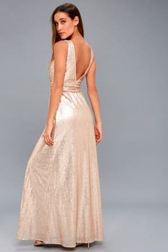 6826c0147682 Sexy Rose Gold Maxi Dress - One-Shoulder Sequin Dress Prom Dresses, Formal  Dresses