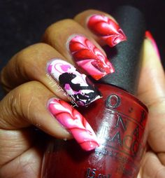 Lacquer Lockdown: Valentine's Day 2015: Cascading Hearts Watermarble Nail Art