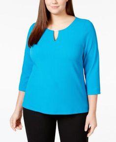 CALVIN KLEIN Plus Size Keyhole Textured Blue Top Size 1X #CalvinKlein #Blouse