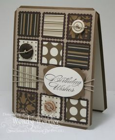 "Stamps: Bring on the Cake Paper: Soft Suede, Crumb Cake, Early Espresso, Very Vanilla, Mocha Morning DSP Ink: Early Espresso Accessories: Pretty Postage Punch, Wide Oval Punch, 1"" Square Punch, Decorative Label Punch, Tag Corner Punch, Linen Thread, Neutrals Buttons"