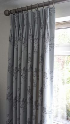 Pale Blue Curtains Applique Abstract Tree Leaf Design. Triple Pinch Pleat,  Interlined.