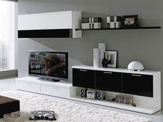 Interior blanco negro y gris Interior blanco negro Living Room Tv, Living Room Modern, Living Room Designs, Home And Living, Modern Tv Wall Units, Rack Tv, Tv Stand With Mount, Tv Unit Design, Tv Furniture