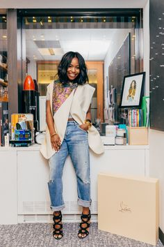 Kahlana Barfield, Beauty Director at in a vest by Phillip Lim, Citizens of Humanity jeans and Jimmy Choo shoes. Instyle Magazine, Black Girl Fashion, Fashion Looks, Casual Chic, Chic Outfits, Fashion Outfits, Office Outfits, Skirt Outfits, Office Wear
