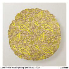 Cute brown yellow paisley pattern round pillow Soft Pillows, Throw Pillows, Round Pillow, Paisley Pattern, Soft Fabrics, Vibrant Colors, Monogram, Texture, Yellow