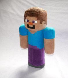Minecraft STEVE plush toy by REDPAWSHOP on Etsy, £35.00
