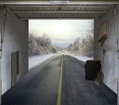 Fotoplane für Garagentor Winter Road / Garage Mural Winter Road