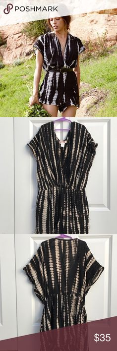 band of gypsies / linen black and white romper, s bank of gypsies romper - worn ~3 times, selling bc small is too big on me Band of Gypsies Dresses