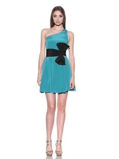 one shoulder pleated dress with bow in bright teal/black by jay godfrey, sold on myhabit.com for $88