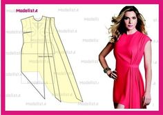 Enlarge a tight dress pattern to make fuller side drop. Diy Clothing, Sewing Clothes, Clothing Patterns, Sewing Patterns, Fashion Sewing, Diy Fashion, Modelista, Techniques Couture, Dress Making Patterns