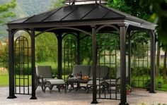 Gazebo is pergola type structure, which can be erected in your lawn. But there is little bit difference in pergola and gazebo as pergola is simple structure… Metal Gazebo Kits, Pergola Metal, Aluminum Gazebo, Wooden Gazebo, Gazebo Canopy, Outdoor Gazebos, Backyard Gazebo, Pergola Patio, Pergola Kits