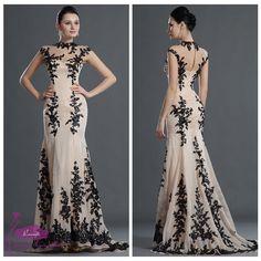 SE32 New Dress High Neck Lace Applique Beading Long Chiffon Dress 2014 Evening Gown
