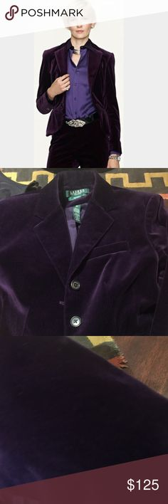 """Velvet Jacket Ralph Lauren Exclusive Feminine, elegant velvet jacket--a modern take on a timeless style. Sumptuous velvet and a rich, royal violet add textural allure .  Back body length, 21"""", and sleeve length, 23"""", are taken from the center back of the neck. Shoulder width: 15"""".  Notched lapels. Two-button silhouette. RL branded buttons. Two front waist pockets and chest pocket. Beautifully contoured silhouette. Ralph Lauren Jackets & Coats"""