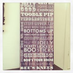 Another fab large wooden sign This one is English Sayings such as jolly good Tickety boo Bobs your uncle These measure approx Bob's Your Uncle, Queer As Folk, Bees Knees, Wooden Signs, Living Room Decor, Sayings, Gifts, Wooden Plaques, Drawing Room Decoration