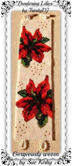 BPFLO084  Pondering Lilies  Even Count Peyote Stitch by TrinityDJ, $6.50