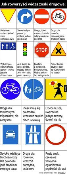 Jak rowerzyści widzą znaki drogowe Funny Pictures, Humor, Memes, Haus, Fanny Pics, Cheer, Funny Pics, Meme, Jokes