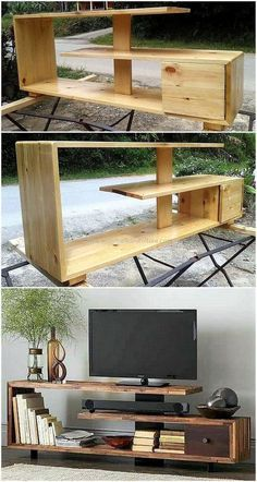 Now enhance the charming look of your lounge by crafting this DIY pallet tv stand project. This smartly constructed pallets tv stand design seems modern as well as stylish according to latest furniture trends. Diy Pallet Furniture, Diy Pallet Projects, Home Furniture, Furniture Ideas, Rustic Furniture, Antique Furniture, Pallet Ideas, Outdoor Furniture, Diy Furniture Tv Stand