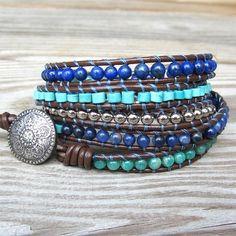 Shining Seas - leather 5-wrap bracelet blue turquoise silver beads