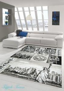 alfombra de diseo alfombra moderna saln alfombra new york diseo crema gris - Wohnzimmer Teppich Turkis