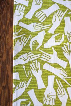 American Sign Language Linen Cotton Tea Towel by auntjune