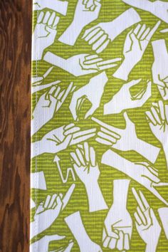 American Sign Language Linen Cotton Tea Towel by auntjune