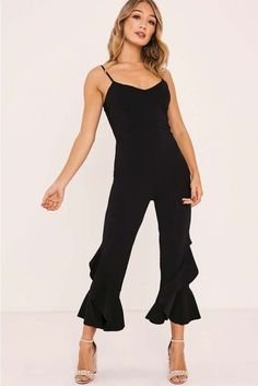 9397d30af95 I-X London Zayda Blk Frill Leg Jumpsuit Black Size UK 14 rrp 26.99 DH182 ii  14