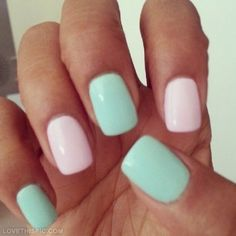 """""""Pink and Green Pastel Nails"""" perfect spring time nails"""