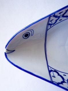 Thai CERAMIC PLATE Fish Shaped Long  Blue & by BambooBayBazaar