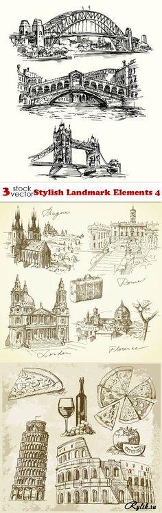 Достопримечательности разных стран, архитектура, скетч рисунки